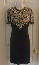 Vintage Lawrence Kazar Beaded/Sequence Black Silk Size Medium Cocktail Dress