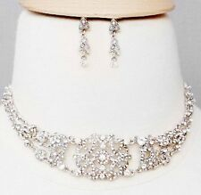 101J Vintage Victorian Look Swarovski Clear Crystal Elements Choker Set