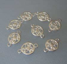 10pcs-Connector Pendant Charm Silver Plated 19x12mm 2holes 3mm.