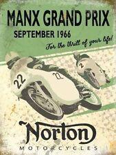 Norton Motorcycles,T.T Manx Grand Prix Old Vintage Garage Medium Metal/Tin Sign