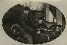 PHOTO ANCIENNE - VINTAGE SNAPSHOT - SIDE CAR MOTO MOTOCYCLETTE MODE - MOTORBIKE