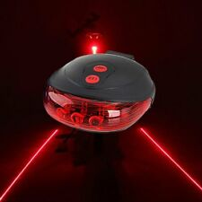 2 Laser Beam 5 LED Bike Bicycle Cycling Rear Back Night Safety Tail Light Lamp