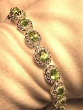 Antique Vintage Real Green Peridot 925 Sterling Silver Rhodium Deco Bracelet
