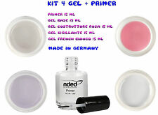 KIT 4 GEL +1 PRIMER PROFESSIONALI RICOSTRUZIONE UNGHIE 15 ML FRENCH NAIL ART UV