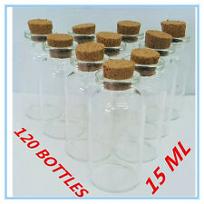 120 X MINI SMALL CLEAR GLASS CRAFT JARS BOTTLES WITH NATURAL CORK LID - CANDY AP