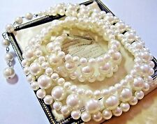 Pretty VINTAGE 1950's 3 Row Faux Pearl BEAD Choker Costume Jewellery NECKLACE