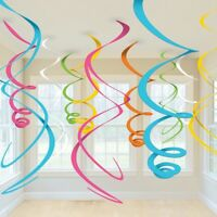 MULTI COLOUR BIRTHDAY LUAU BABY SHOWER HANGING SWIRL DECORATIONS x12!