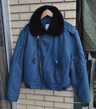Canadian Air force Original Winter Flyers Jacket Mouton Fur Collar Blue 7348 XL