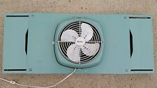 Vintage Mid Century Modern Turquoise Lasko Heavy Duty Atomic Window Fan Tested