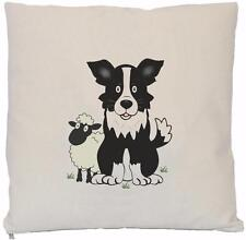 Border Collie & Sheep -  Natural (Cream) Cushion Cover - CUSHION NOT INCLUDED