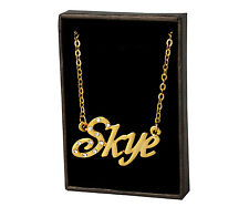 """Name Necklace """"SKYE"""" - 18ct Gold Plated - Identity Appreciation Thank You Gifts"""