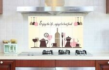 Wine Glass Coffee Cup Pot Kitchen Wall Decal Sticker Exhaust Grease Oil Proof