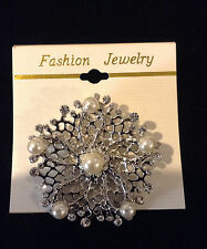 Fashion Women SILVER Rhinestone Pin & Pearls BROOCH 4 Dress-Jacket (New on Card)