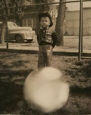 VINTAGE HALLOWEEN COWBOY COSTUME MAGIC BALL ODDITY VERNACULAR PHOTOGRAPHY PHOTO