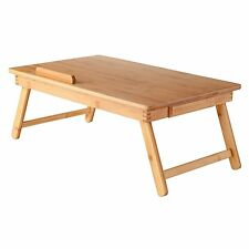 Wood Lap Desk Flip Top Drawer Foldable Legs Breakfast Serving Bed Table Tray