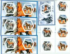 HORSES horse SET 6 hexagon stamps + 4 s/s Tchad 2014 MNH #tchad2014-127s IMPERF