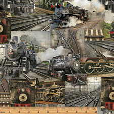 1 Half Metre length Railway Express Steam Trains Print Fabric - 8507-99