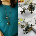 Retro Bronze Globe Tellurion Telescope Charms Pendant Chain Necklace for Beauty