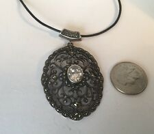 Large Sterling Silver Marcasite And Quartz Pendant Necklace