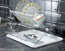 FOLDABLE DISH DRAINER * PLATES & CUTLERY FOLDING RACK * SINK DRAINING BOARD TRAY