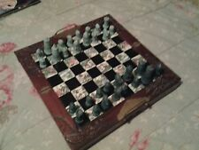 Vintage Asian Chess Set Folding Carved Wood Box