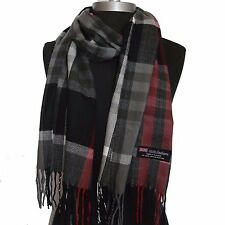 Warm 100% Cashmere Scarf Gray/Black check Plaid Scotland Wool Soft Unisex #SU702