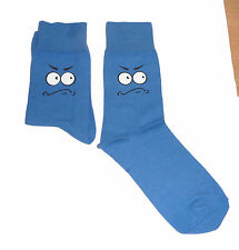 Frowning Face With White Eyes on Blue Socks, Great Novelty Gift