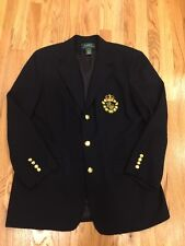 RALPH LAUREN Navy Wool Crest Blazer Suit Jacket 3 Gold Button Size 14 Suit Pants