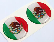 """Mexico Mexican flag Round domed decal 2 emblem Car bike stickers 1.45"""" PAIR"""
