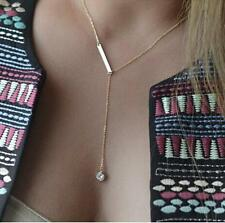 14K gold plated Bar Necklace with a Crystal USA seller Next day shipping