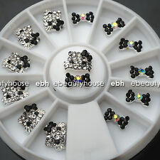 3D Nail Art Deco Hello Kitty & Bow Alloy Jewelry Glitter Rhinestone+Wheel #EB022