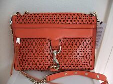 AUTH Rebecca Minkoff MAC Perforated Convertible Clutch Bag in Orange NWT