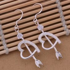 925 Sterling Silver Beautiful Fashion Arrow & Heart Crystal Drop Earrings Gift