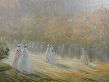 Bart (?) DOMBURG (1958)Pastell Gemälde: DAMEN SPAZIEREN IM PARK EINER GROSSSTADT