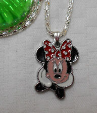 Kids childrens girls necklace Minnie Mouse Disney silver plated red pendant