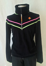 JC de CASTELBAJAC ROSSIGNOL Womens Sexy Black Fleece Ski Sweater. L