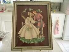 Vintage Victorian Lady And Man Couple Courting Picture Lithograph Print Framed