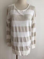 Guess Knit Tapered Tunic Top Ivory & Gold Metallic Stripes Size S