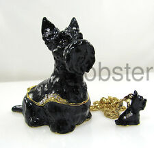 SCOTTIE SCOTTISH TERRIER DOG FINE ENAMEL TRINKET BOX includes pendant necklace