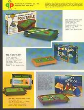 1972 VINTAGE AD SHEET #1110 - PEERLESS PLAYTHINGS TOYS - POOL TABLE - BUMPER