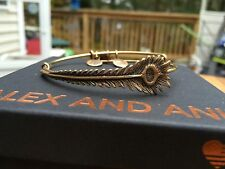 ALEX and ANI PEACOCK FEATHER Russian GOLD Charm Bangle WRAP BRACELET