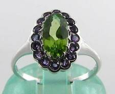 LOVELY 9K 9CT WHITE GOLD PERIDOT & AMETHYST CLUSTER ART DECO INSRING FREE RESIZE