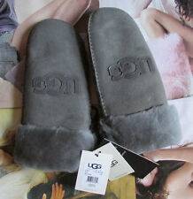 UGG Gloves Classic Logo Sheepskin Shearling Mittens Grey L/XL NEW