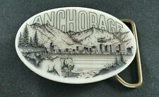 ANCHORAGE ALASKA USA STATE CITY BEAR FISH MOUNTAIN FLOAT PLANE ART BELT BUCKLE