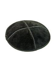 Simple Black Suede Yarmulke Kippah 16 cm diameter Jewish Kippa Judaica Hat Cap