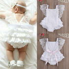 Infant Baby Girl Clothes Lace Floral Bodysuit Romper Cake Sunsuit Outfits 0-18M