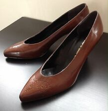 Stead & Simpson Brown Leather Mid Heel Court Shoes Pump Brogues Ladies UK 7 EU41