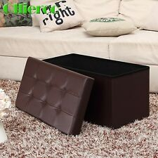 Olliero Fold Ottoman Storage Box Large Bench Foot Rest Stool Seat Footrest Brown