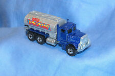 Hot Wheels Blue Peterbilt Railroad Tanker Tank Semi Truck 1/64