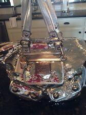 Coach Poppy Silver Sequin Spotlight Satchel/Handbag #13821
